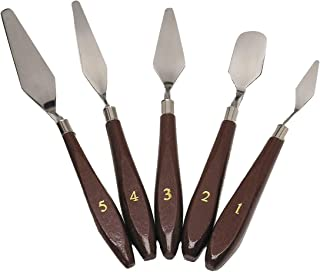 5-Piece Painting Knife Set, GoFriend Stainless Steel Spatula Palette Knife Painting Mixing Scraper Oil Painting Accessories Color Mixing