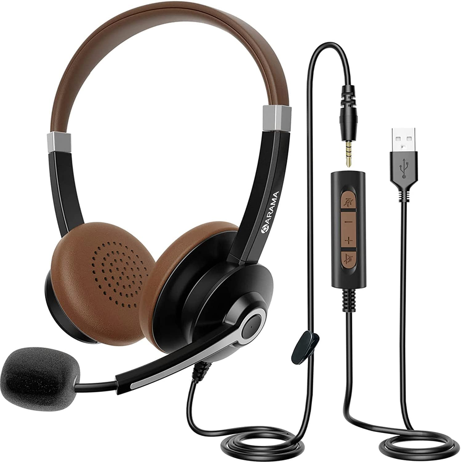 USB Headset with Microphone Noise Cancelling & in-line Call Controls, Ultra Comfort 3.5mm Wired Headset for Cell Phone, Computer Headset with Mute for PC Laptop Skype Webinar Home Office