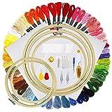 Kit de Inicio de Bordado, Kit de Herramienta de Punto de Cruz Incluye 50 Hilos de Bordado de Colores, Aro de Bordado de Bambú de 5 Piezas, Tela de 2 Piezas y Una Bolsa de Embalaje Circular