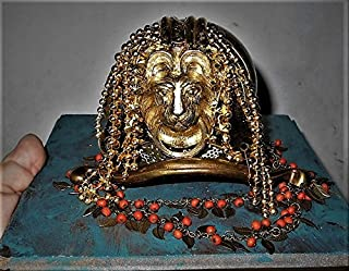 Handmade Lion King Mascot, Long Hair Beaded Found Objects BRASS Sculpture, Recycled Jewelry, Drawer Pulls, Buckle Quirky One of a Kind Art!