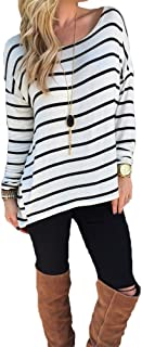 Women's Black and White Stripes Long Sleeve T-Shirt Tops
