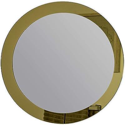 decorWonderland Golden Sol Round Frameless 30in Wall, Bathroom, Vanity Mirror, 30x30x.5, Gold