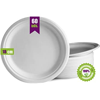 GoBeTree 60 Platos Desechables biodegradables de Papel de caña de ...