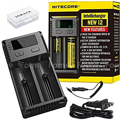 Smart Battery Charger, iGrace NITECORE New i2 (New 2016 version) Universal Smart Battery Charger For Li-ion / IMR / Ni-MH/ Ni-Cd with Car Adapter and iGrace Battery Box