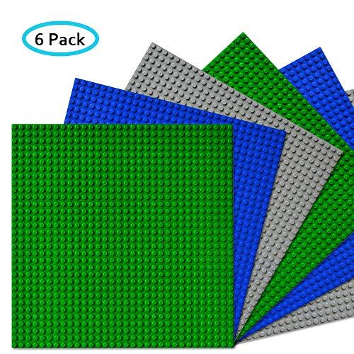 CMaster Classic Bausteine Grundplatte - 10 x 10 (25,5 x 25,5cm) - 6 Stück - Blau, Grau&Grün - 100 % kompatibel mit Allen führenden Marken Bauplatte-zum Bauen von Türmen, Tischen & mehr