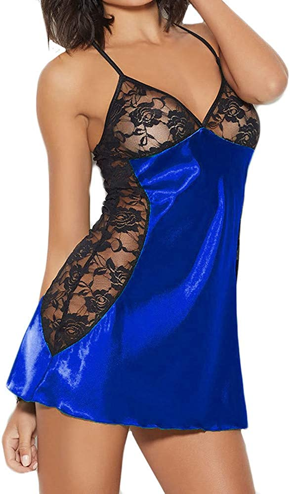 AODONG Lingerie for Women Fashion, Backless Teddy Sexy Bodysuit Deep V Neck Lace Panty Set Babydoll Nightwear