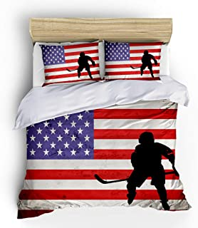 SHOMPE Ice Hockey Sports Bedding Sets Queen Size,3 Piece American Flag Duvet Cover Sets with Pillowcases for Teens Boys Girls Bedroom Decor,NO Comforter