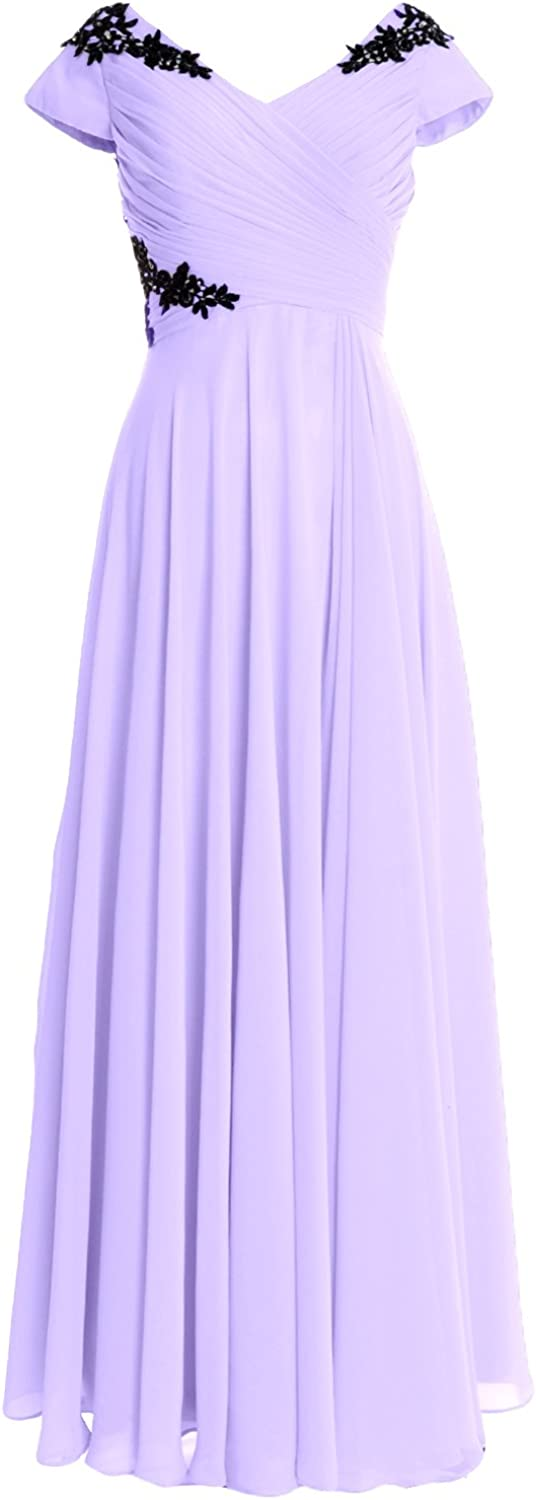 MACloth Popularity Women Mother of The Dedication Bride Dresses Sleeves V Neck For Cap
