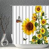 Sonnenblume Gelbe Blumen Grüne Blätter Duschvorhang Set wasserdichte Polyestergewebe Badevorhänge Mit Haken,180X200Cm