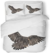 Emvency 3 Piece Duvet Cover Set Brushed Microfiber Fabric Breathable American Golden Eagle Realistic Animal Bald Bird Bird Prey Detail Feather Bedding Set with 2 Pillow Covers King Size