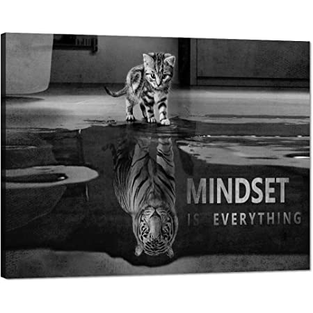 Amazon Com Inspirational Wall Art Cat Tiger Mindset Canvas Painting Motivational Posters Inspiring Entrepreneur Quotes Wall Decor Hd Print Artwork Pictures For Office Bedroom Framed Ready To Hang 18 Hx24 W Posters Prints
