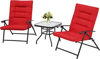 Patiomore 3 Piece Outdoor Padded Patio Folding Chair...