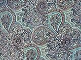 Dekostoff Vorhangstoff Samt Ornamente Paisley Muster blau