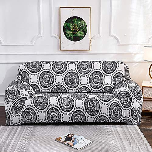 DRTWE Funda elástica para sofá de 1/2/3/4 plazas, diseño de flores grises, bohemia, ajuste ajustado, poliéster, con protector de muebles inferior elástica, 4 plazas, 235,300