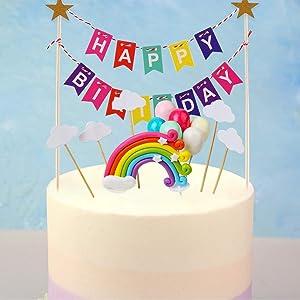 FINGOOO 15 Pieces Rainbow Cake Topper Kit,Include Birthday Bunting Cloud Balloon Rainbow Boy Girls Cupcake Picks Decorations Baby Shower Wedding Party