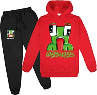 LVTIAN Boys Hoodies Girls Kids Gamer Unspeakable Sudaderas con Capucha y Pantalones Trajes, Roblox Personajes de Dibujos A...