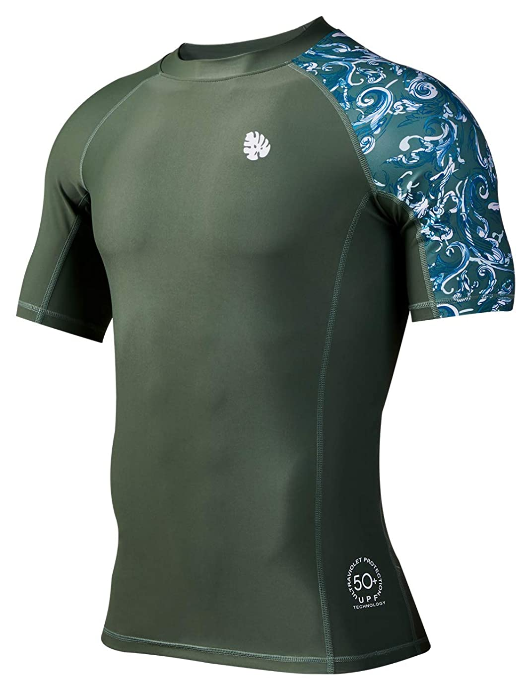 HUGE SPORTS Men's Splice UV Sun Protection UPF 50+ Skins Rash Guard Short Sleeves