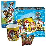 JT Juego de regalo de la Patrulla Canina con taza de cacao de porcelana y chocolate con leche para Pascua