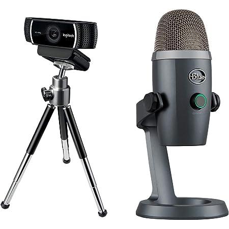 Logitech C922 Cámara Web para streaming con full HD 720p, con trípode y licencia gratuita XSplit 3 meses y Micrófono Blue Yeti Nano, USB para grabación y streaming en PC y Mac, Gris