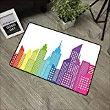 DGGGD City Commercial Grade Entrance Mat Colorful City Skyline Abstract Skyscraper Silhouettes Geometric Arrangement American For Entrances Garages Patios Multicolor 18x30(IN)