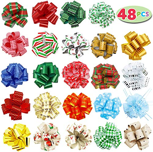 """48 PCs Christmas Gift Wrap Pull Bows (5"""" Wide) with Ribbon for Boxing Day Decorations, Holiday Décor Present Wrapping."""