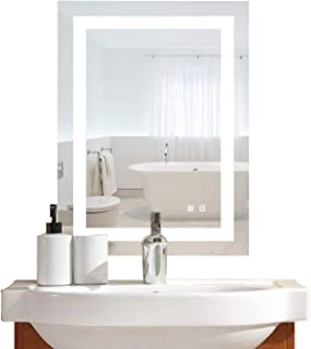 Bonnlo Led Dimmable Bathroom Mirror LED Lighted Wall Mounted Mirror for Bathroom Vanity Mirror with Touch Button and Anti-Fog Function Hangs Vertically or Horizontally (20