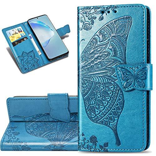 COTDINFORCA Etui für Xiaomi Redmi K30 Hülle PU Leder Schutzhülle Magnet Tasche Flip Handytasche im Bookstyle Kartenfächer Lederhülle für Xiaomi Redmi K30 Flower Butterfly Blue SD