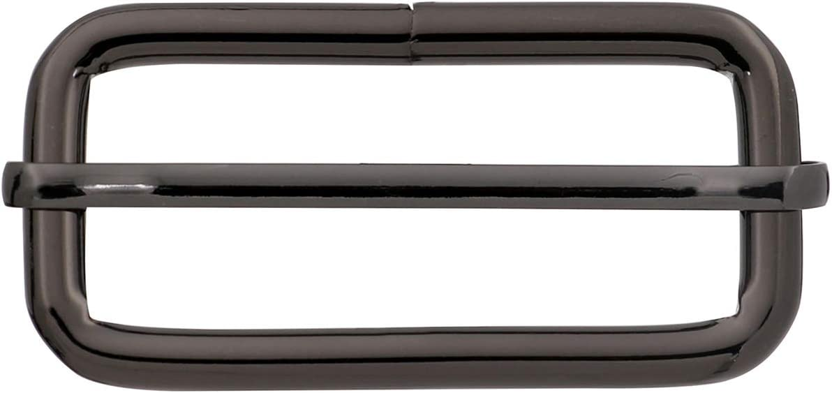 BIKICOCO Metal Slide Adjuster Buckle Tri Glide with Movable Center Bar Non Welded 2 x 0.8 Inch Gunmetal Pack of 10