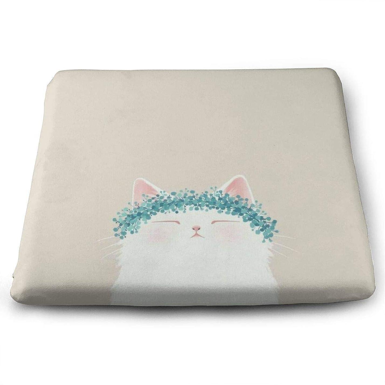 うがい薬腰パッドLovely Cat TOSHIMURA 座布団 高低反発コンビ クッション イス 椅子用 かわいい おしゃれ スクエア 四角 滑り止め付き 座り心地抜群 オフィス