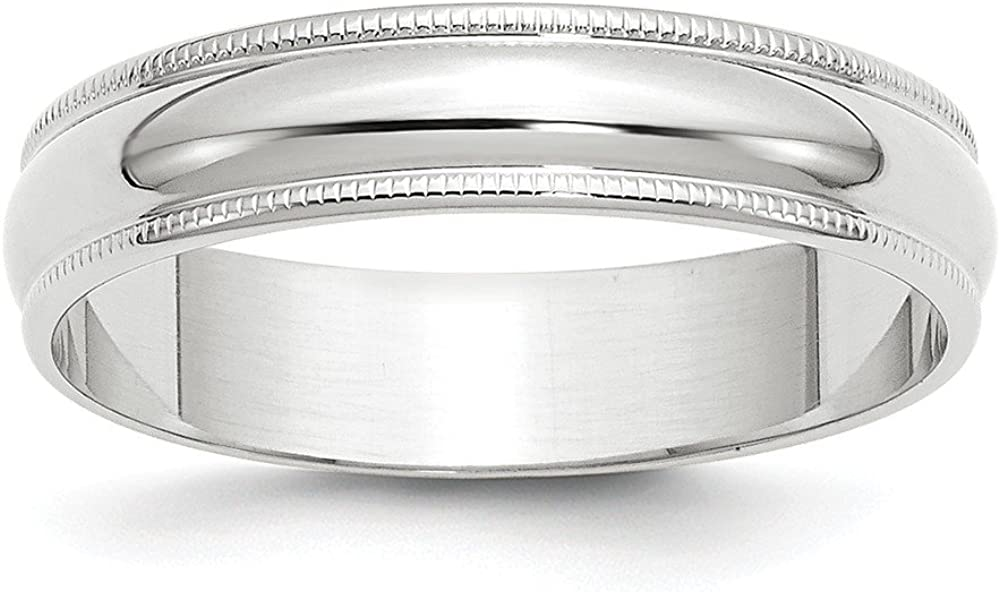 10 White Gold 5mm Milgrain Half Round Wedding Ring Band Size 10.5 Classic Fashion Jewelry For Women Gifts For Her