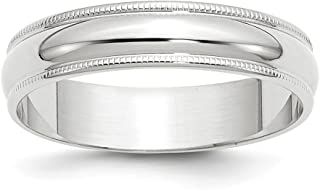 10kw 5mm Milgrain Half Round Wedding Ring Band Size 5.5 Classic Fashion Jewelry Gifts For Women For Her