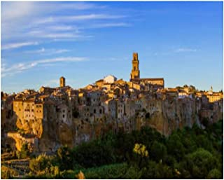 Paint By Numbers pitigliano medieval town in tuscany italy slope and village at Digital Coloring Oil Painting Canvas With ...