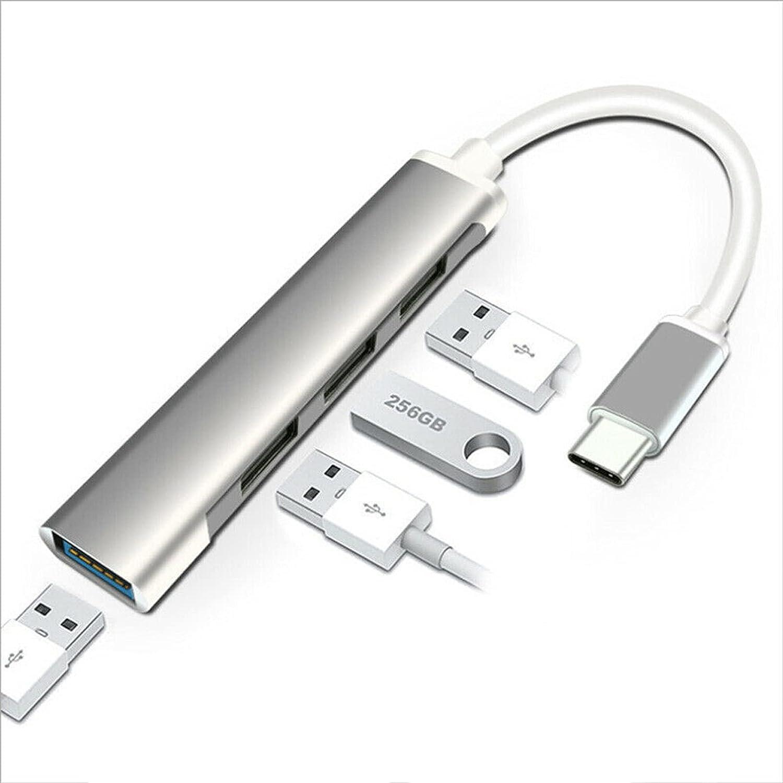 Aluminum Slim Thunderbolt Type C to USB 3.0 Hub Adapter USB 4 Ports USB C Hub for Phone PC Laptop w/Type-C