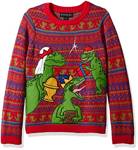 Blizzard Bay Boys Ugly Christmas Sweater Dinosaur, Bright red Combo, S 8/10