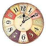 Soledi Reloj de Pared de Cuarzo Estilo Toscano Vintage Francesa Paris Reloj de Madera...