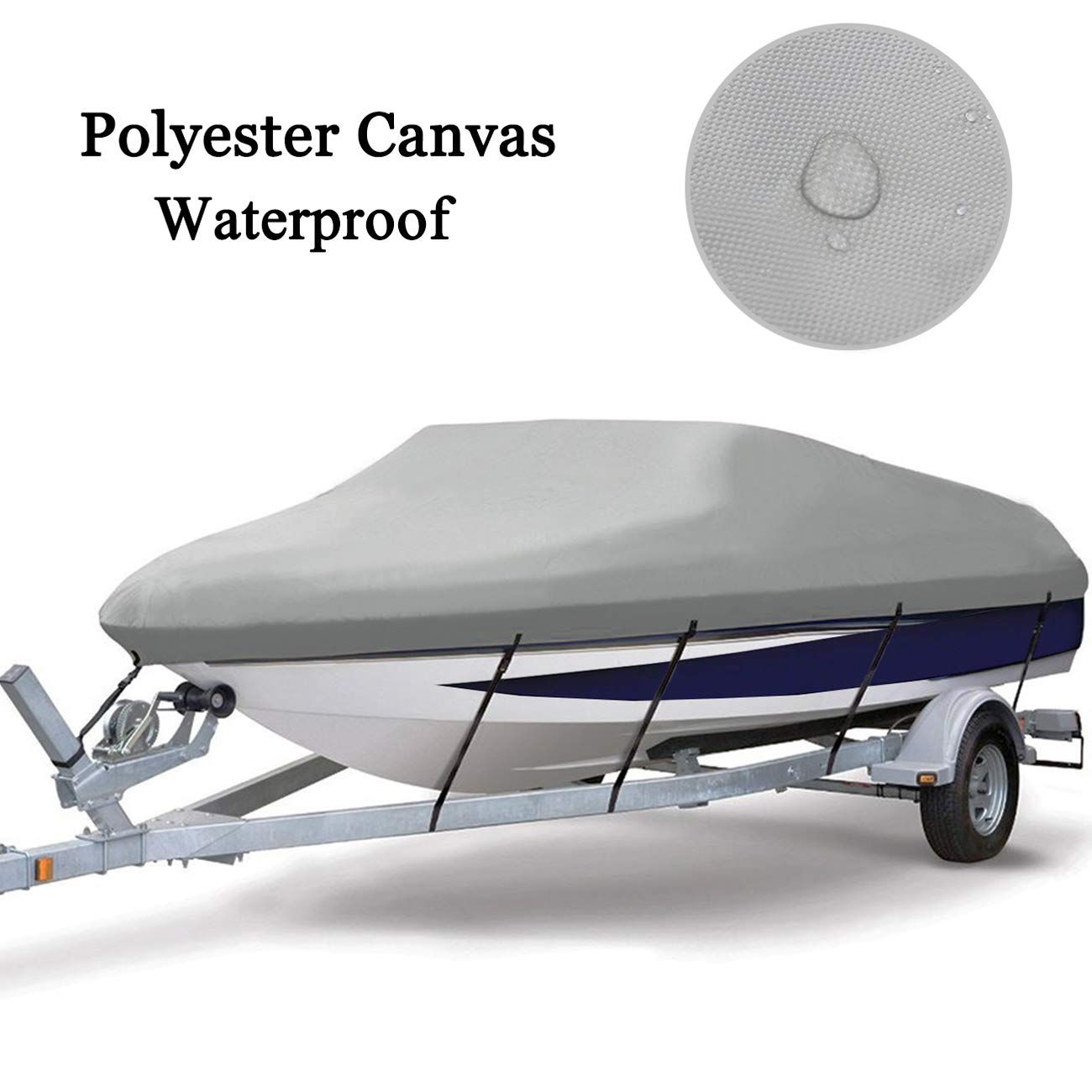 MSC Heavy Duty 300D Marine Grade Polyester Canvas Trailerable Waterproof Boat Cover Runabout Boat Cover,Full Size Boat Cover Summates Gray,Fits V-Hull,Tri-Hull