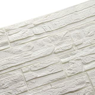 WANWEITONG 3D Papel Pintado ladrillo, PE de Espuma de 3D Wallpaper, DIY Pared Pegatinas Decoración de Pared en Relieve Piedra de ladrillo Para Casa Oficina (1 Pc, Blanco)