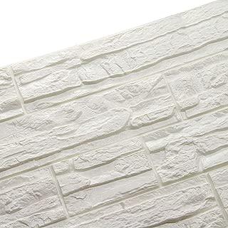WANWEITONG 3D Papel Pintado ladrillo, PE de Espuma 3D Wallpaper, DIY Pared Pegatinas Decoración de Pared en Relieve Piedra de ladrillo Para Casa Oficina Sala de Estar TV Fondo Pared (12 Pcs, Blanco)