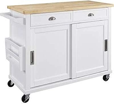 Benjara Wooden Kitchen Cart with Caster Wheels and Two Drawers, White and Brown