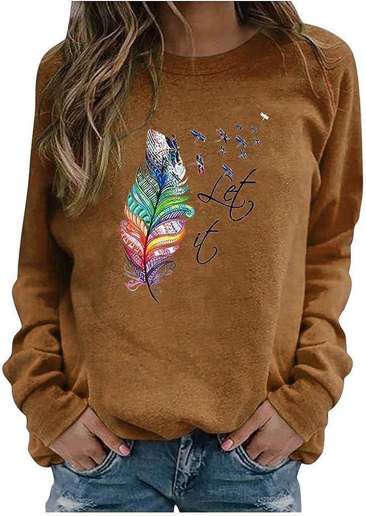 FABIURT Womens Long Sleeve Tops,Women's Dandelions Sunflower Graphic Sweatshirt Crew Neck Pullover Casual Tee Shirts