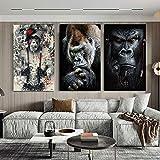 Monos Y Monos Escuchando MúSica Animal Wall Art Poster Print Abstract Wise Swag Pinturas En Lienzo Imagen DecoracióN Para El Hogar 90x120cm (36x48in) X3 Sin Marco