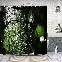シャワーカーテン木の葉と日没の雨を注ぐ 防水 目隠し 速乾 高級 ポリエステル生地 遮像 浴室 バスカーテン お風呂カーテン 間仕切りリング付のシャワーカーテン 180 x 180cm