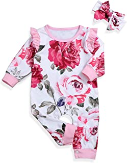 itkidboy Newborn Baby Girls Romper Jumpsuit Flower Long Sleeves Bodysuit + Floral Headband 2Pcs Outfit Set