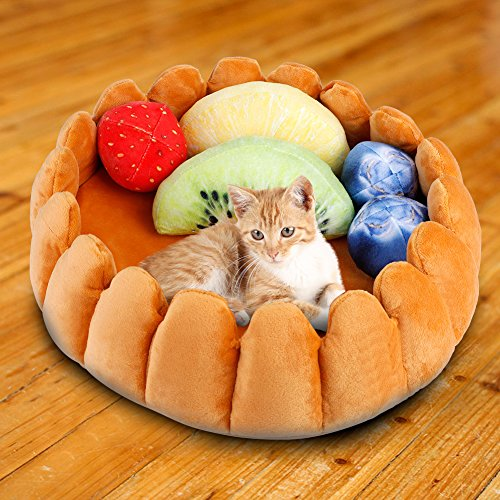 Zyyini Nidos de Gato, Cama cálida y Duradera para Mascotas de Mascotas, Tarta de Frutas Cama de Gato Cueva Perro de Gato Nidos cálidos Casa para su Mascota Favorita