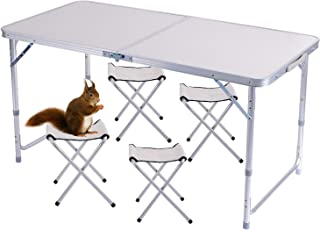 comprar comparacion Sunflo - Mesa plegable portátil de 1,2 m de altura ajustable para acampar, portátil, para interiores y exteriores, mesa de...