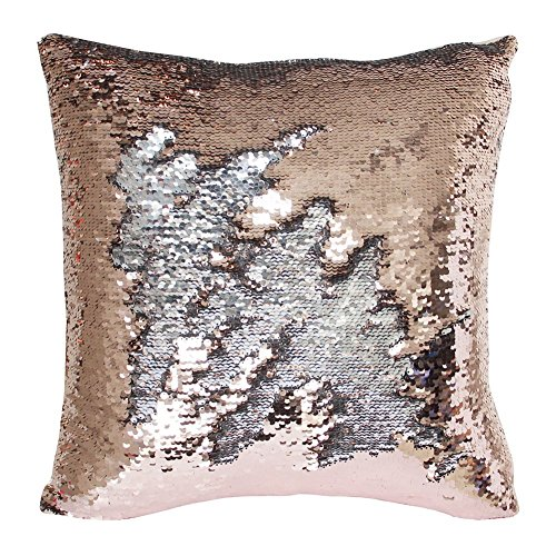 TRLYC 18 x 18 Inch Rose Gold and Silver Sequin Pillow Reversible Sequins Mermaid Fabric Sparkly Pillowcase Cushion Cover with Insert