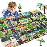 Moonvvin Mapa de tráfico para niños, vida de la ciudad, ideal para jugar con coches y juguetes, alfombra de juego para dormitorio, sala de juegos, zona segura (no incluye coche de juguete).