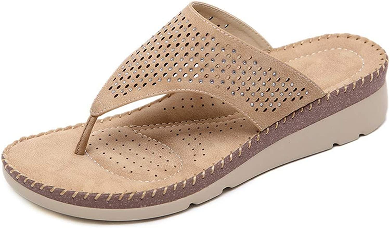 Btrada Women Summer Beach Flip Flops Platform Slip On Sandals Wedges Faux Rhinestone Solid Slippers