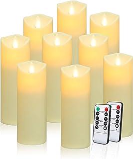 شمع های بدون شعله شمع های پلاستیکی مات و نازک که با شمع کار می کنند در برابر حرارت در فضای باز مقاوم در برابر شعله های LED رقص واقعی و کنترل از راه دور 10 کلید با تایمر 24 ساعته