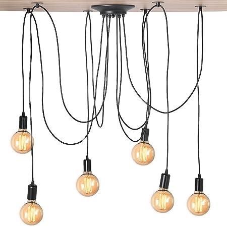 Cocoarm Spider Chandelier Rétro Adjustable DIY Ceiling Plafonnier Spider Chandelier Lustre Plafond Lampe Suspensions Luminaire avec 2m fil pour E27 , pas D'ampoule (6 tête)